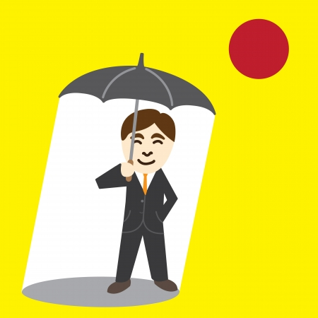 persevere: Business man holding umbrella against the sun