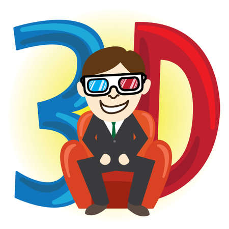 dazzled: Business man enjoy with 3d glasses