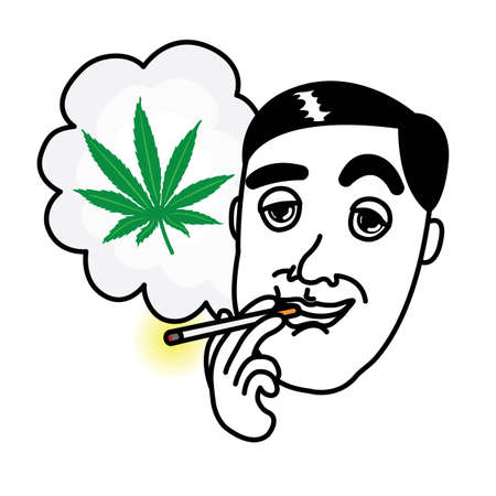 baccy: Man smoking cannabis cigarette Illustration