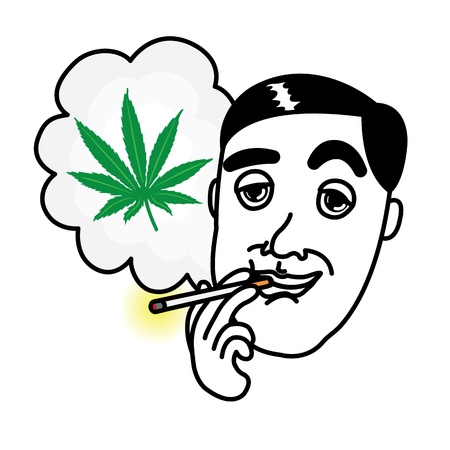 Man smoking cannabis cigarette Illustration