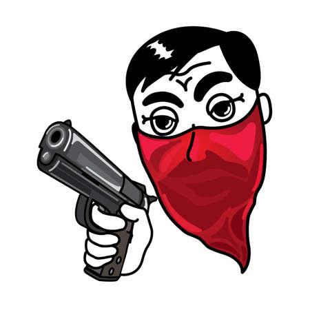 Thief holding a hand gun Stock Vector - 17162079