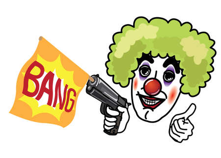 buffoon: Joker shooting bang flag gun