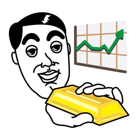 predicted: Man holding a gold piece with investment growth graph