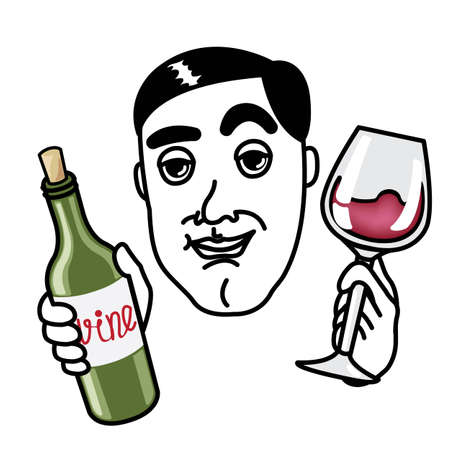 Man with wine glass and bottle Vector