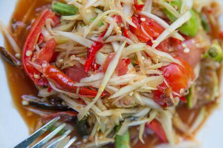 spicy food: very spicy papaya salad,thailand food