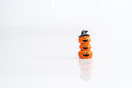 Halloween pumpkin witch hat on white background isolated Stock Photo