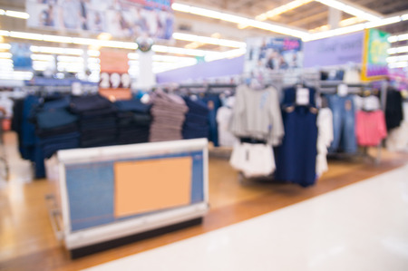 Abstract blur Background of Men's wear Corner in Department store or Shopping Mall as Retail Commercial Outlet Concept.