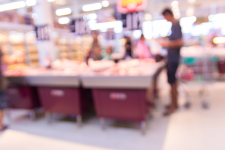 Abstract Blur deofus Bokeh Background of People Shopping in Supermarket or Hypermarket Outlet at Meat and Grocery Department on Weekend.