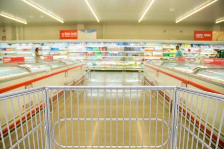 Shopping Trolley Cart in Hypermarket or Supermarket Retail Store Outlet with Dairy Product Shelf and Freezer of Frozen Food as Modern Lifestyle Concept 免版税图像