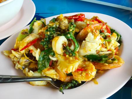 Fried stir spicy seafood Reklamní fotografie