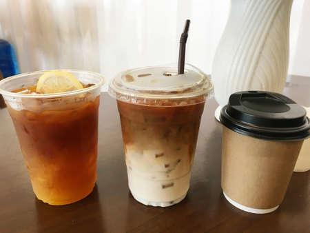 Ice coffee latte macchiato, Ice black coffee honey lemon and hot cappuccino