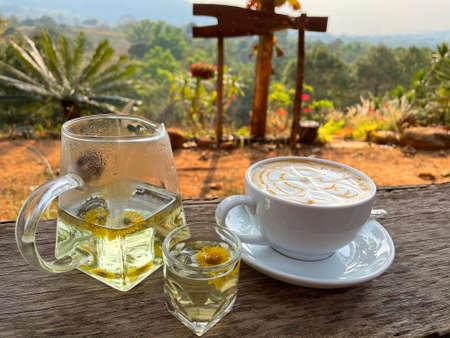 Hot caramel macchiato with chrysanthemum tea