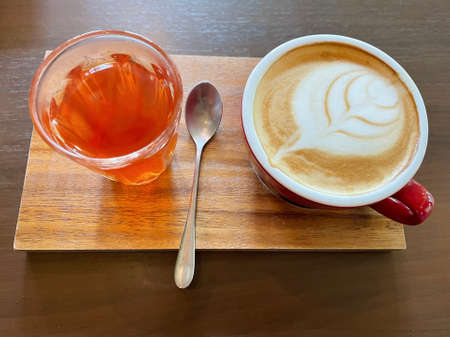 Hot coffee latte with rose tea