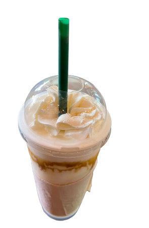 Ice cappuccino shake with whipped cream Standard-Bild