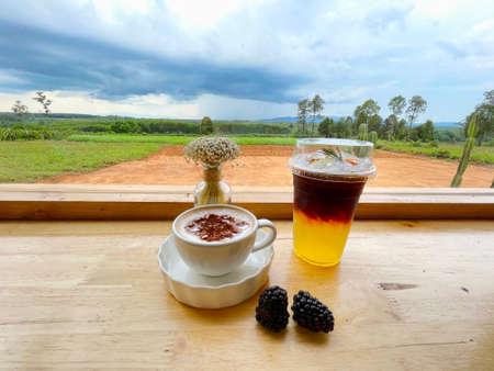 Hot coffee Mocha ,Ice black coffee with lemon and honey