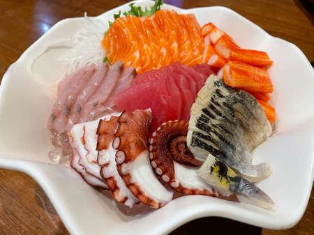 Mix sashimi salmon, tuna,saba,hamaji and other - japanese food style
