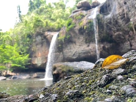 The Haew Suwat Waterfall resides in Khao Yai National Park near Nong Nam Daeng in the Nakhon Ratchasima Province, Thailand. Standard-Bild