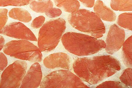 handmade paper: Orange leaves natural handmade paper