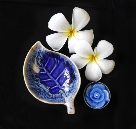 leaf shape: The deep blue candle holder with leaf shape and rose flower candle with the plumeria flower at the background