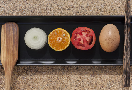 vegetable tray: Healthy fresh food set on the black tray with organic vegetable and fruit this raw material from the garden