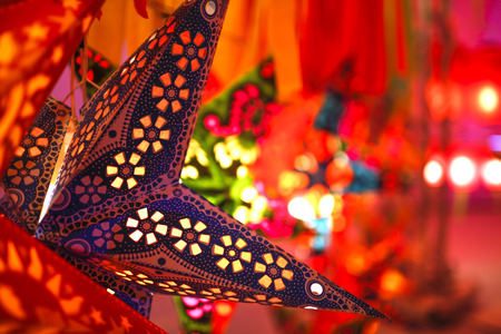 Beautiful colourful star shape lantern at the Lantern festival in northern Thailand