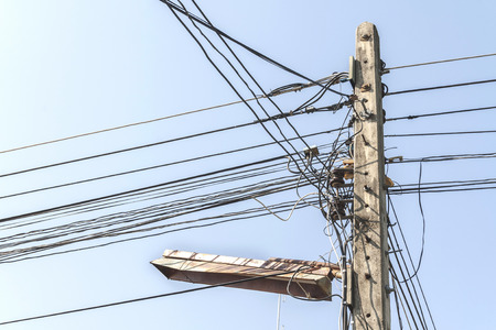 wire mess: Electric pole