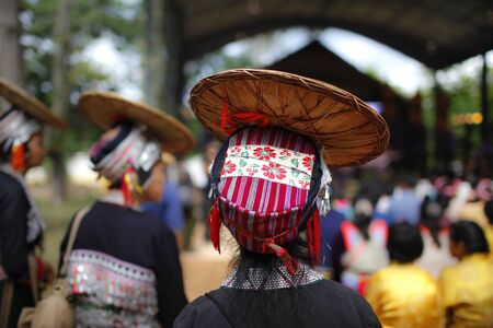 A colourful hill tribe hat design photo