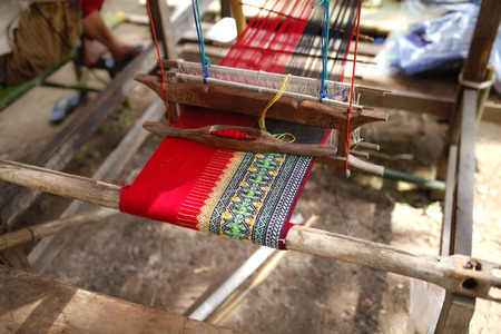 Thai style Handlooms in northern Thailand with a beautiful old thai style pattern Stok Fotoğraf - 37298079