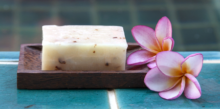 Closeup Natural soap with plumeria flower horizontal style