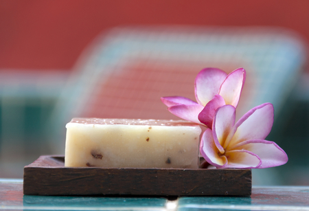 natural soap: Natural soap with flower horizontal