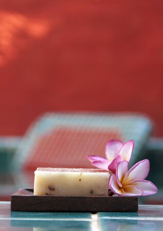 natural soap: Natural soap with flower vertical Stock Photo
