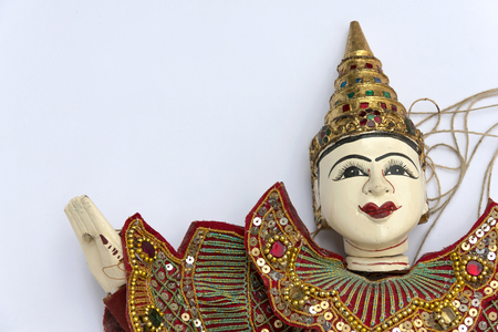 burmese: Burmese puppet on white background