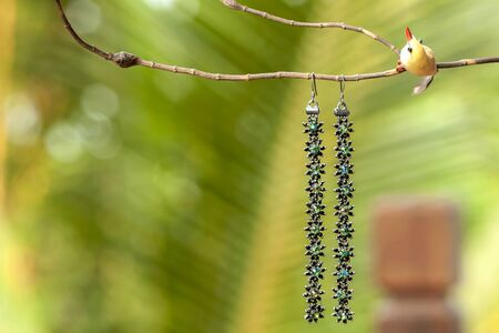 Colourful flower earing with nature green bokeh background