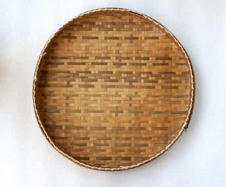 A bamboo trayA bamboo tray pattern on white background