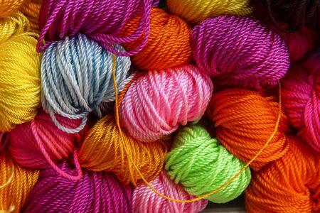 nylon: Top left focus colorful nylon rope Stock Photo