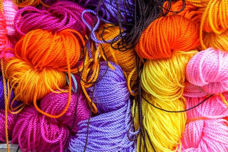 nylon: Closeup colourful nylon rope