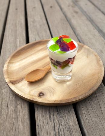 wooden plate: Yogurt jelly on wooden plate