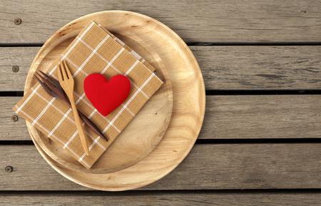 wood floor: Wooden kitchenware lover concept with space on wood floor