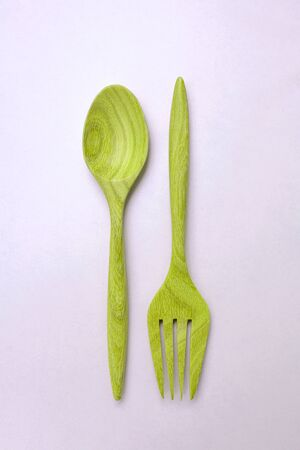 green purple: Vintage green purple wooden fork and spoon