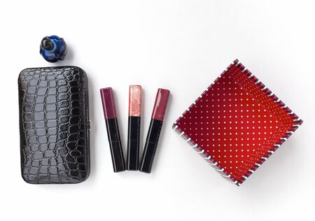 clutches: Black clutches bag with lips gloss stick and gift box