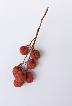 litchee: Red Lychee with space on white background vertical style