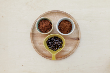 selections: Coffee selections on wooden plate