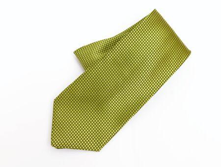 necktie: Green necktie on white background Stock Photo