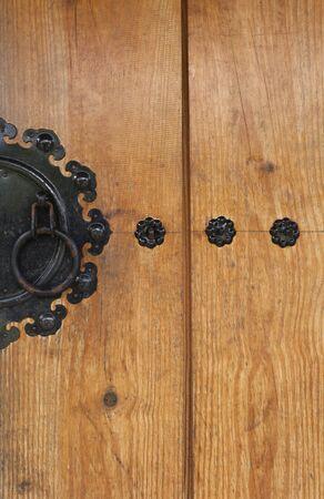 korean design: Closeup wooden door Korean design background