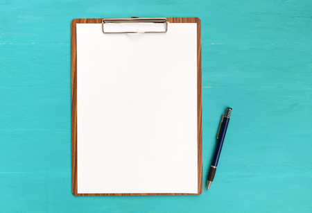 Blank paper on clipboard with space on blue background Stok Fotoğraf - 44555668