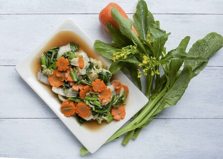leaf vegetable: Fried mixed vegetable with soy sauce