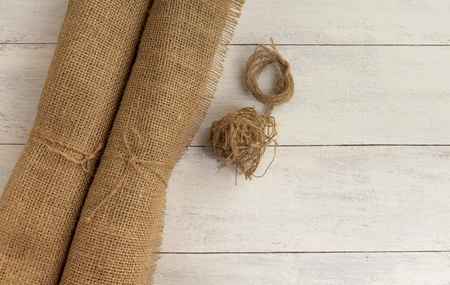 fabric roll: Hessian fabric roll with space on background