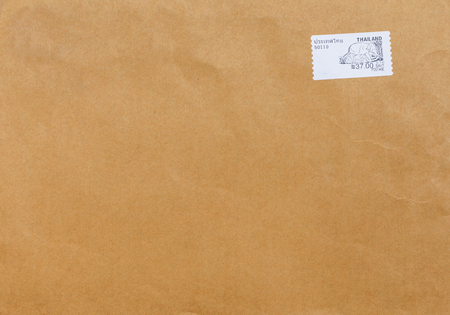 stamped: Thailand stamped on brown envelope Stock Photo