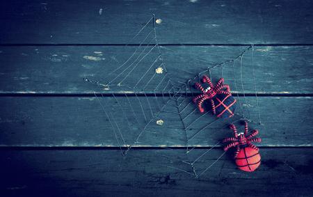 wood spider: Halloween concept background, spider on dark wood floor vintage cool tone style