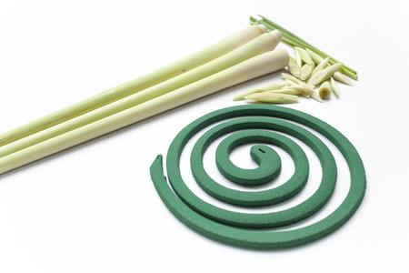bobina: bobina repelente de mosquitos hierba de limón, hierba de limón fresco y espiral para mosquitos Foto de archivo